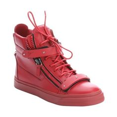 Giuseppe Zanotti Red leather zipper detail high-top sneakers ($626) ❤ liked on Polyvore featuring shoes, sneakers, red, red high top sneakers, high top zipper sneakers, red hi top sneakers, giuseppe zanotti sneakers and red hi tops
