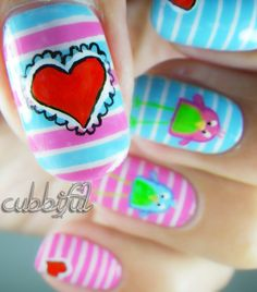 cubbiful: The Lovebirds valentine #nail #nails #nailart