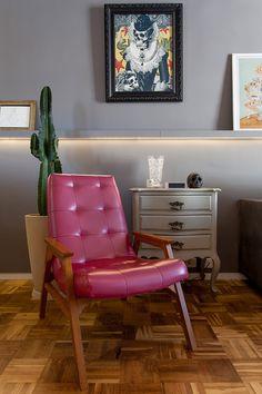 Decoração de: Detalhes; poltrona vintage estofada; Casa de Valentina
