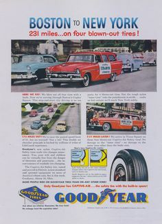 1957 Good Year Tires Vintage Ad Boston to New York by AdVintageCom