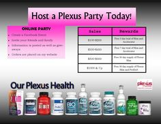 Host a party and receive free Plexus products!!!  Lose weight, free products and the potential to earn money?!?  What do you have to lose?