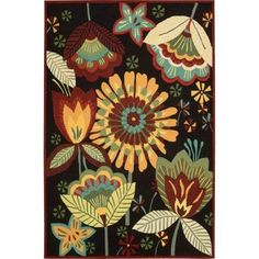 Nourison Folk Flowers Black 8 ft. x 10 ft. 6 in. Area Rug-032768 at The Home Depot.  $429
