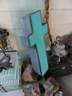 Large Reclaimed Industrial Salvage Italic Advertising Neon Channel Sign Letter: Bright Teal Slanted Lowercase Initial 'T' or Cross. $80.00, via Etsy.