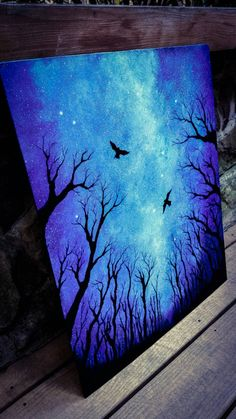 Night sky painting acrylic painting space art by TheMindBlossom