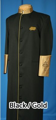 Black/Gold Clergy Cassock - Available for Women; Sizes 8-26!!