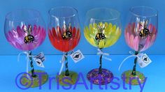 Gerbera Wine Glasses by TrisArtistry www.Etsy.com/Shop/TrisArtistry