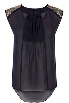 Embellished shoulder pleat top