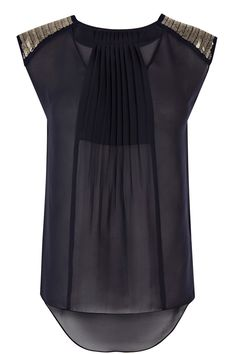 Embellished shoulder pleat top