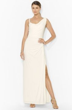 Lauren Ralph Lauren Braided Strap Jersey Gown | Nordstrom. I saw this one in person yesterday; it's a very pretty soft white, not stark white.