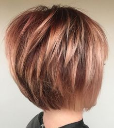 60 Best Short Bob Haircuts and Hairstyles for Women Rose Gold Bob With Choppy Layers Stacked Haircuts, Short Layered Haircuts, Bob Hairstyles For Fine Hair, Layered Bob Hairstyles, Layered Bob Short, Modern Haircuts, Medium Hairstyles, Wedding Hairstyles, Cute Bob Haircuts