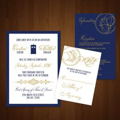 Classy Doctor Who Themed Wedding Invitation Suite