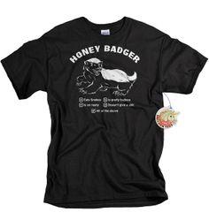 Honey Badger t shirt funny mens meme tshirt adult animal humor gift for husband boyfriend brother son on Etsy, $14.99