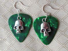 Green Guitar Pick Earrings with Silver Skulls by leannbutler