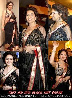 Madhuri Dixit Style IIFA Black Color Net Bollywood Saree