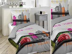Szare pościele francuskie z bawełny z Times Square