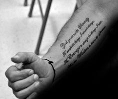 50 Serenity Prayer Tattoo Designs For Men – Uplifting Ideas Simple Guys Serenity Prayer Inner Forearm Tattoos Pray Tattoo, Text Tattoo, Gebets Tattoo, Forearm Tattoo Quotes, Scripture Tattoos, Simple Forearm Tattoos, Bible Verse Tattoos, Inner Forearm Tattoo, Shape Tattoo