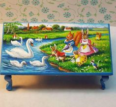 Dollhouse miniature coffee table bunny swan painting original OOAK 1:12