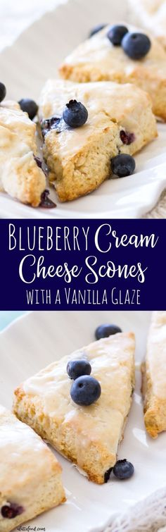 These homemade blueberry cream cheese scones are sweet, flaky, and topped with a vanilla glaze. Homemade blueberry scones are so simple to make, and are perfect for a quick and easy breakfast, snack, or dessert!