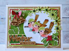 Card by DT member Wybrich with Craftables Christmas Bells (CR1343), Ice Crystals Arche (CR1345) and Winter Wonderland (CR1347) by Marianne Design