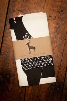 Screen Printed Deer Tea Towels by Gingiber for BourbonandBoots.com