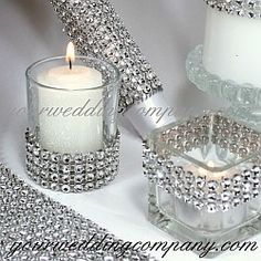 Diamond wrap is a sparkling, bendable ribbon perfect for wrapping around wedding bouquet handles, favor boxes, candles and vases. Makes gorgeous centerpiece accents. Wedding decorations - event decorations - party supplies #bling http://www.yourweddingcompany.com