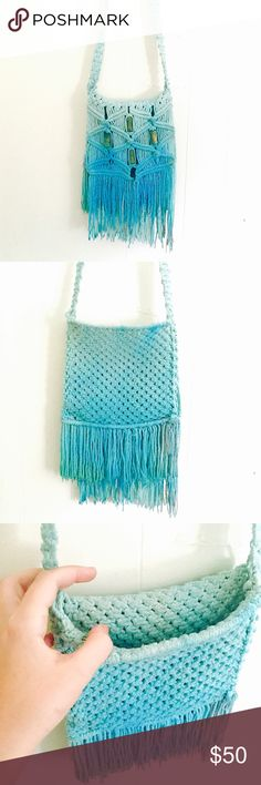 """✨SALE Surf blue macrame tie dye bag Magical Colors of a sea goddess surf blue and sea foam green make this bag a beautiful and mystical item to own! It also has a faint blue glitter sparkle that won't wash off! Has 4 wooden beads. DIMENSIONS: 7"""" long, 7.5"""" across, top of bag opening to bottom of fringe 13"""", strap drop 20"""" BRAND NEW & HAND DYED! No two bags I make are exactly the same. You get the bag shown in the photos, I make separate  listings for each bag. hand made Bags Crossbody Bags"""