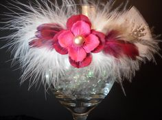 Vibrant Pink Paper Flower and Soft Feather by SavvyEmbellishments, $11.95