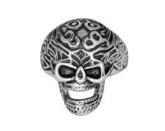 Gents Tribal Tattoo Skull Ring