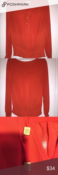 Michael Kors Burnt orange peasant top Like new/ only worn once Michael Kors Burnt orange peasant top matte with small gold MK boxes on the end of each tie. MICHAEL Michael Kors Tops Blouses