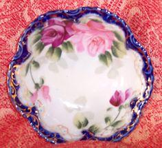 VTG Hand Painted Sm. Bowl Shabby Decor PINK Roses Cobalt Blue Gold Trim HP Japan, $11.85