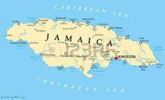 Jamaica Mapa político con la capital, Kingston, las ciudades y los ríos importantes. Etiquetado y escalado Inglés. Ilustración.