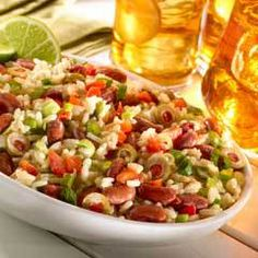 Creamy Rice & Bean Salad- used less rice, 1 cup green olives, omitted red pepper, 1/2 cup mayo, about a 1/2 Tblsp of red wine vinegar and half a lime.