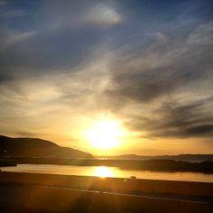 Trondheim, sunset, spring sky