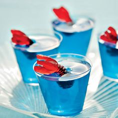 """Ocean Cups...blue jello and gummy lobster (or use swedish fish) Top off with """"sea foam"""" of whipped cream."""