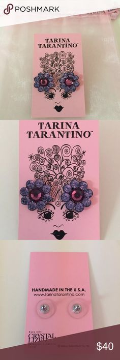 """NEW Tarina Tarantino Purple Amethyst Earrings 🌺Brand new and never worn! Comes in pink mesh Tarina Tarantino storage bag.  The beauty of these earrings are the open cup settings that holds each crystal. This allows for maximum sparkle with no prongs to block the color and shine.  Materials: Swarovski crystal set into a silver plated brass flower setting with a hypo-allergenic post.  Details: Approx. 1/2"""" in diameter. Tarina Tarantino Jewelry Earrings"""