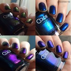 Color Club: ⭐ It's Raining Men ⭐ ... a trichrome nail polish that shifts from royal blue to bright purple to olive green ... from the Oil Slick Collection
