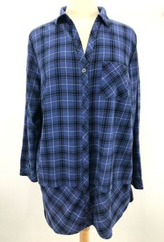 cbfb15f1c96 J. Jill Mixed Plaid Tunic womens large blue button front long sleeve L shirt