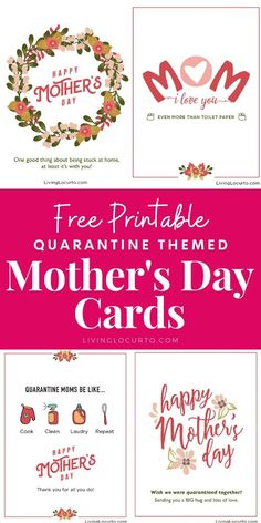 Quarantine Mother's Day Cards - Free Printables - Living Locurto printable tags for mother's day day printables day printables for preschoolers day printables free day free printable cards Mothers Day Crafts For Kids, Diy Mothers Day Gifts, Mothers Day Cards, Happy Mothers Day, Mother's Day Printables, Free Printable Cards, Happy Cook, Mom Day, Mother's Day Diy