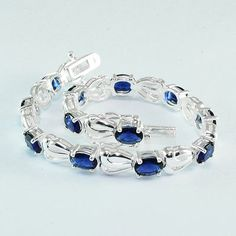 """Free Shipping 70.10ct 100% AAA BLUE SAPPHIRE WHITE SAP 925 SILVER BRACELET 7.5"""""""