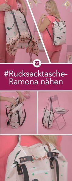 #RucksacktascheRamona aus dem #DIYeuleBuch – Nähanleitung für eine kombinierte Rucksack Tasche mit Laptop Sleeve und Lederriemen inkl. Videoanleitung von DIY Eule – Tasche / Shopper / Handtasche