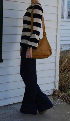 1970's Striped Sweater..and jeans, not quite elephant bells, but almost!