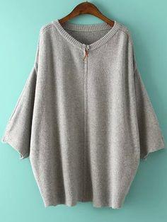 Jersey cuello redondo cremallera -gris 22.70