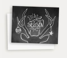 Rustic Christmas Card - Tis The Season - Christmas Chalkboard Art - Antler Illustration - Hand Lettered Christmas Card