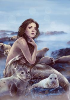 Selkie. scottish folklore. They are seals that can shed their seal skin periodically and walk on land as beautiful women. Sometimes men stole their seal skin and therefore the Selkies were their slaves and often were forced to be their wives.