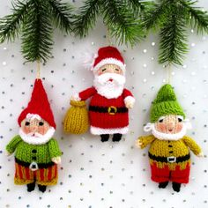 * * Writen in ENGLISH * * SANTA and his ELVES measure 12cm (5in). Easy to knit. It is great fun making each character different by varying the colour, clothes, beard and curly whiskers. They make perfect Christmas decorations. KNITTING PATTERN contains instructions for Santa and two elves. NEEDLES: All knitting is done on two straight 2.75mm needles and seamed. (US size 2). YARN: DK (double knitting) yarn. (USA - light-worsted/Australia - 8 ply). SKILLS REQUIRED: Cast on, cast off, kni...