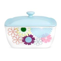 Portmeirion Multicoloured 'Crazy Daisy' butter dish- at Debenhams. Portmeirion Uk, Family Bbq, Toast Rack, Sweet Butter, Butter Cheese, Cheese Dishes, Beyond The Rack, Ceramic Tableware, Dinner Sets