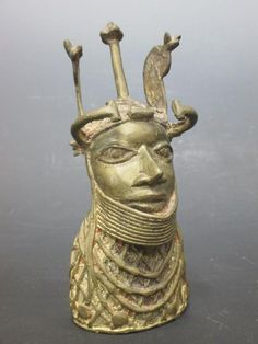 Sale C200416 Lot 116  Benin, a cast brass head of an Oba, 18cm high - Cheffins