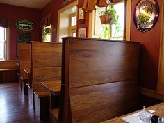 Wooden high back booth
