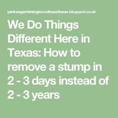We Do Things Different Here in Texas: How to remove a stump in 2 - 3 days instead of 2 - 3 years