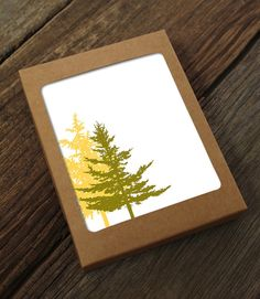 blank note card set / boxed cards / evergreen trees by Modern Printed Matter